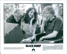 Gary Busey, director Penelope Spheeris and David Spade share a laugh in the comedy Black Sheep.