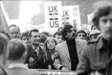 Tariq Ali in a protest, in London.