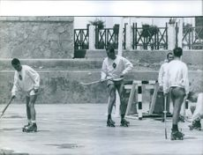 Juan Carlos playing Roller hockey.