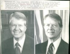 Two photographs of U.S. President Jimmy Carter. The one on the left taken 11 days after Carter became president, the one on the right taken nearly 18 months later