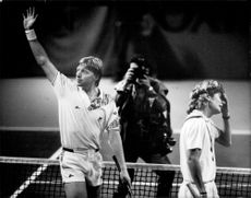 Boris Becker thanks the audience after winning the Stockholm Open. The distressed opponent is called Peter Lundgren.