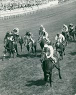 Lupe with Sandy Barclay in the saddle wins before D. Keith at State Pension followed by Y. Saint Martin at Artic Wave at Derbyt Oak Stakes at Epsom