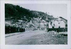 A view of a destroyed infrastructures in Norway during the war, 1940.