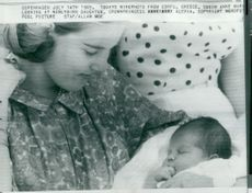 Queen Anne-Marie of Greece with newborn princess Alexia