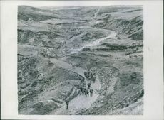 General view of winding mountain road. 1942