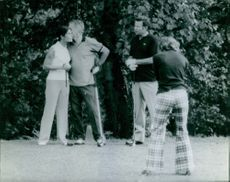 Jacques Chaban-Delmas playing golf with friends, 1971.