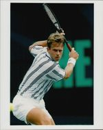Tennis player Stefan Edberg in action