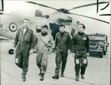One of the first helicopter rescue teams.