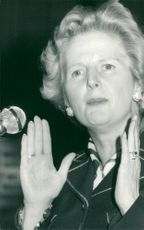 Margaret Thatcher, politician, in the pavilion of Hemel Heampstead