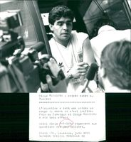 Diego Maradona is interviewed by journalists