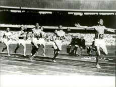 Running during the Olympic Games in Stockholm Stadium