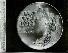 Back of the Olympic Gold Medal for Women's Speed ??Skating at the Winter Olympics 1980