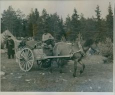 A horse drawn carriage with a man sitting on top and a soldier behind.