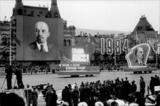 The annual military parade at the anniversary of the Russian Revolution.