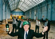 Moss Evans, then council leader now Mayor toasts the news that the Corn Exchange would recieve Lottery cash aid in July 1995.