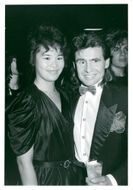 Selina Woung and Davy Jones (The Monkees) attend the American Music Awards at the Shrine Auditorium