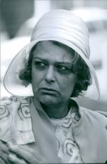 A photo of a Greek actress, politician and singer Melina Mercouri looking agitated in a scene, 1969.