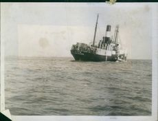 "The Danish ship ""Birte"" stuck on the Goodwin Sands."