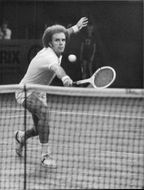 Tennis player Ray Moore in action during the Stockholm Open 1977