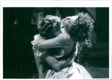 """Kenneth Branagh and Helena Bonham Carter in a romance scene from """"Mary Shelley's Frankenstein"""" in 1994."""