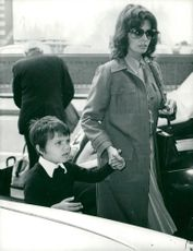 Sophia Loren at London Heathrow Airport along with his son Carlo