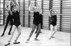 Charlie Chaplin daughters, Josephine and Victoria, dancing ballet.