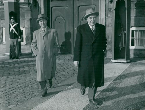 Hans Hedtoft and Finance Minister H. C. Hansen at Amalienborg