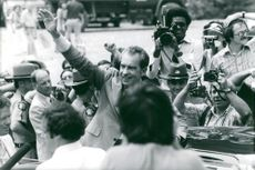 Ex-President Richard Nixon arrives at Hyden with a private jet plane from San Clemente