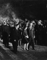 "A huge crowd gathered at Robert Francis ""Bobby"" Kennedy`s mass funeral."