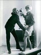 Lars Hansson and Maj Nielsen in a scene from a 1967 Swedish drama film,