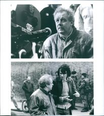 """Jim Sheridan and Daniel Day-Lewis on the set of the film """"In the Name of the Father """", 1993."""