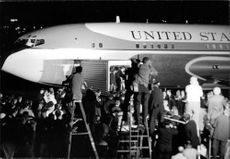 People gathered to welcome Robert F. Kennedy at airport.