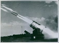 Colonial troops using missile during wartime.