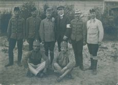 Russian soldiers and Red Cross volunteers during World War I.