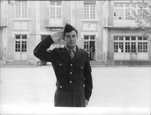 Jacques Charrier saluting.