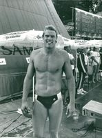 Pär Arvidsson after winning 200m butterfly in Sim-SM 1982