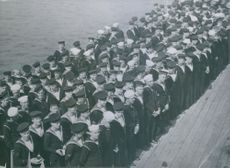 British and American sailors together on board H.M.S. Prince of Wales at Church Service during the President and Prime Minister's meet up.  Taken - Circa 1941