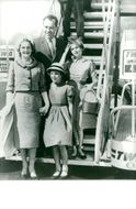 USA's former president Richard Nixon with his wife Pat, his oldest daughter Julie (in hat) and the youngest daughter Tricia, after a flight across the United States.