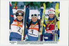 Olena Zubrilova, Corinne Niogret and Magdalena Forsberg, gold, silver and bronze medalists at 10 km hunting start.