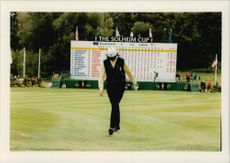 Golf player Helen Alfredsson takes some heavy steps after the loss in the Solheim Cup 1996
