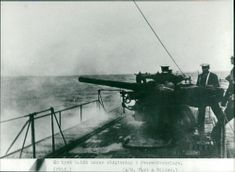 German submarine during firing World War II black white