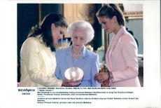 Princess Victoria, Princess Lilian and Princess Madeleine view one of silver cabbage.