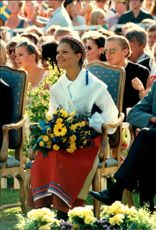 Crown Princess Victoria enjoys the birthday song during her 20th birthday at Solliden with her family.
