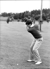 Action image of Spanish golfer Seve Ballesteros taken in an unknown context.