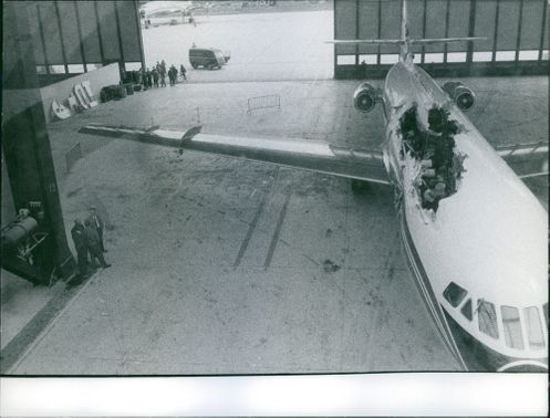 A crash airplane in the hall.
