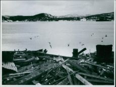 View of Namsos, Norway, during World War II when the town was bombed by German airplanes on April 1940