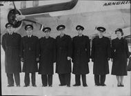 The crew of the 'Arngrim Viking', which will fly the royal couple to King George's funeral in London.