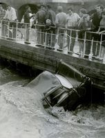 Crowd gather to see the car floating in Côte d'Azur.