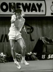 Tennis player during Stockholm Open 1985