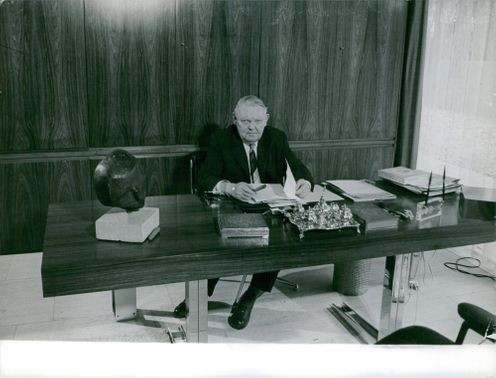 Ludwig Erhard in his office.